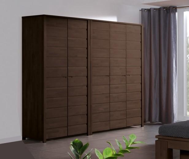 Dulap din lemn masiv de fag Vinci 600 2D wenge, l100xA60xH212 cm