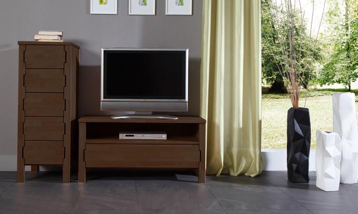 Comoda TV din lemn masiv de fag Koli TV 1000 wenge, l100xA47xH59 cm