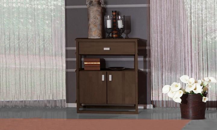 Dulap din lemn masiv de fag Minimal 850 1S2D wenge, l85xA45xH100 cm