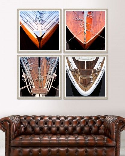 Tablou 4 piese Framed Art Wood Boat Fronts