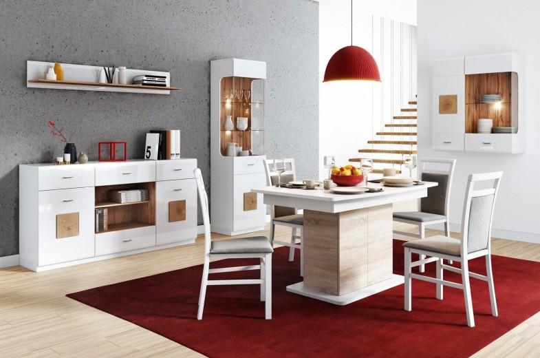 Set de mobila dining din MDF, 5 piese Wood White / Oak