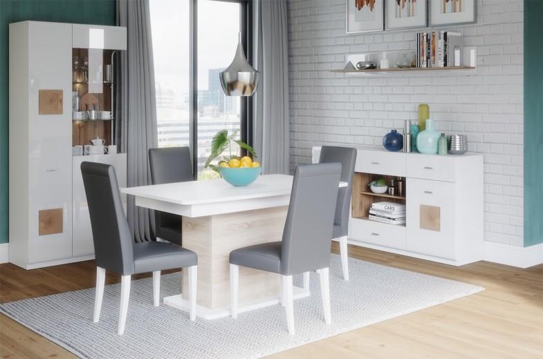 Set de mobila dining din pal, 4 piese Wood Alb / Stejar Wotan
