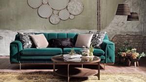 Canapea fixa tapitat cu stofa, 3 locuri Rosalina Verde, l228xA97xH78 cm