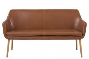 Canapea fixa tapitata cu piele ecologica, 2 locuri Nora Maro / Stejar, l159xA56xH86 cm