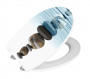Capac toaleta din duroplast, Meditation Alb / Albastru, l38,8xA45 cm