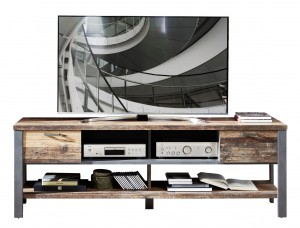 Comoda TV din pal, cu 2 sertare Chelsea Natural / Grafit, l189xA50xH58 cm