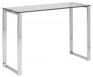 Consola din sticla si metal Katrine Transparent / Crom, l110xA40xH76 cm