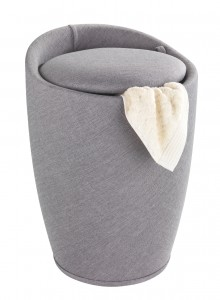 Cos de rufe / Taburet din plastic, tapitat cu stofa, Candy Gri, Ø36xH50,5 cm