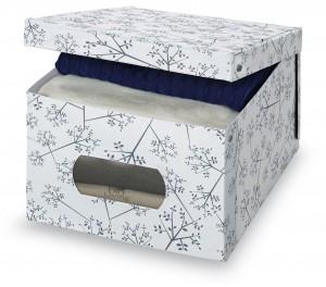 Cutie pentru depozitare din carton, Scatola L Alb / Gri, L50xl39xH24 cm