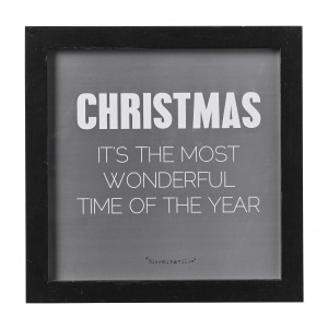 Tablou Christmas is the... Negru, l25xL25xH1,5 cm