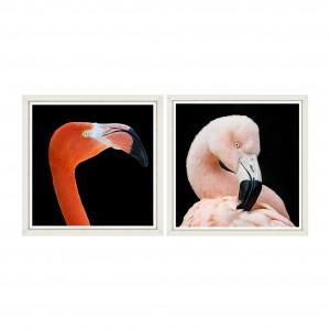Tablou 2 piese Framed Art Flamingos
