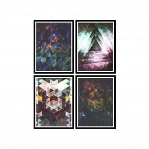 Tablou 4 piese Framed Art Galaxy Triangles