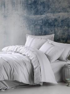 Lenjerie de pat din bumbac Ranforce Elba Gri, 200 x 220 cm