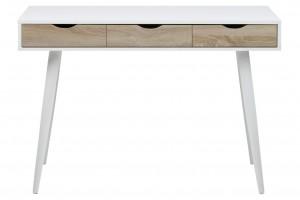Masa de birou din MDF si metal Neptun Alb / Stejar, L110xl50xH77,1 cm