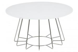 Masa de cafea din sticla si metal Casia Alb / Crom, Ø80xH40 cm