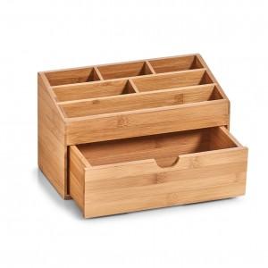 Organizator pentru accesorii de birou, Bamboo, 7 compartimente, l25,4xA12,5xH15 cm