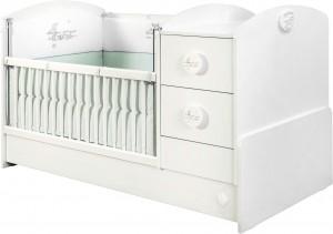 Patut transformabil din pal, pentru bebe Baby Cotton White, 160 x 75 cm