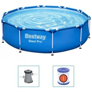 Piscina cu cadru metalic si pompa de filtrare, Steel Pro Albastru, Ø305xH76 cm