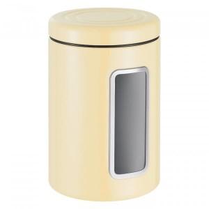 Recipient pentru depozitare cu capac, din metal si plastic, Classic Line Crem, 2L, Ø12,5xH18,9 cm