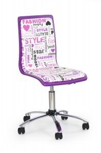 Scaun de birou pentru copii, tapitat cu piele ecologica Filipa 2 Violet, l43xA49xH86-98 cm