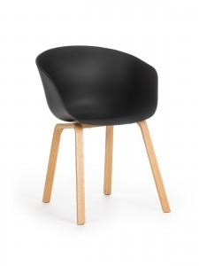 Scaun din plastic cu picioare din lemn Iris Black, l55xA56xH80 cm