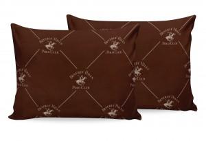 Set 2 fete perna din bumbac, Beverly Hills Polo Club BHPC 006 Maro / Crem, 50 x 70 cm