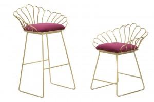 Set 2 scaune din metal, tapitate cu stofa Flower Bordeaux / Auriu, l57xA52xH94 / l56xA48xH72,5 cm