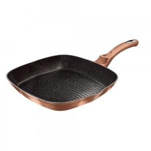 Tigaie grill din aluminiu cu invelis antiaderent de marmura, 28 cm, Metallic Line Rose Gold