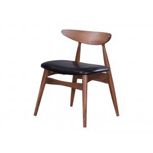 "Scaun din lemn cu sezut tapitat cu piele ecologica, ""Jana"" Black, l52xA49,5xH73 cm"