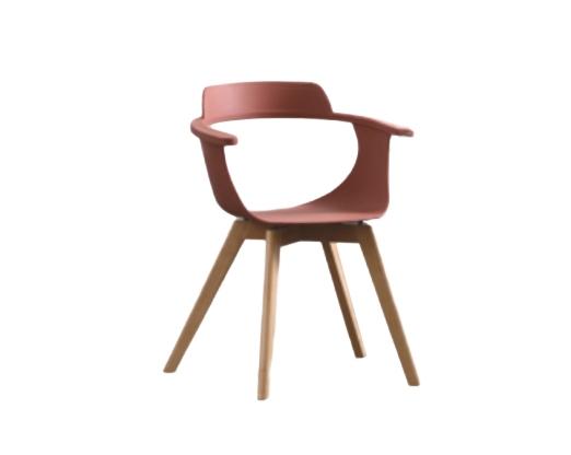 Scaun din plastic cu picioare de lemn Alan Red l51xA60xH80 cm