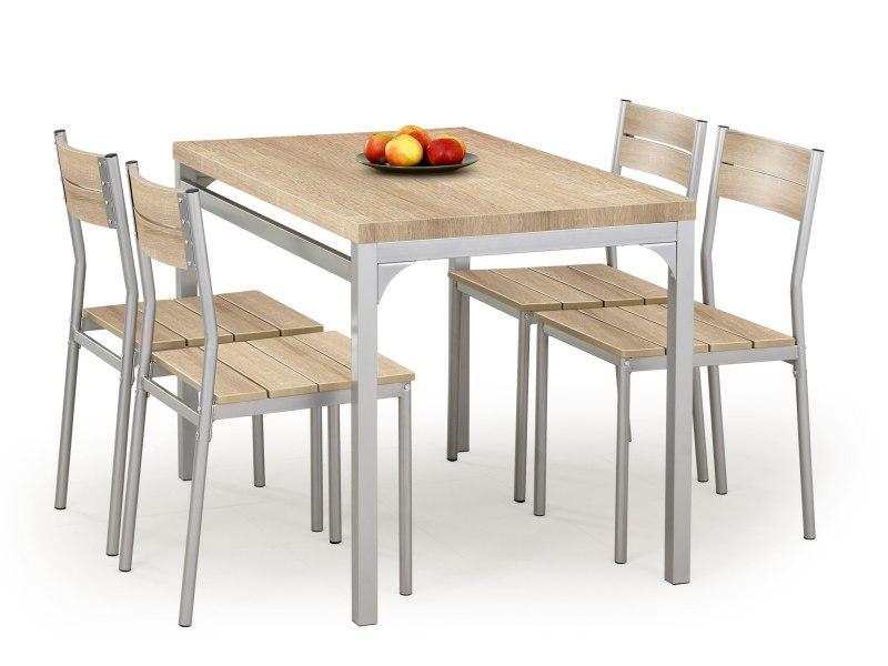 Set masa din MDF si metal + 4 scaune Malcolm Sonoma Oak, L110xl70xH75 cm imagine