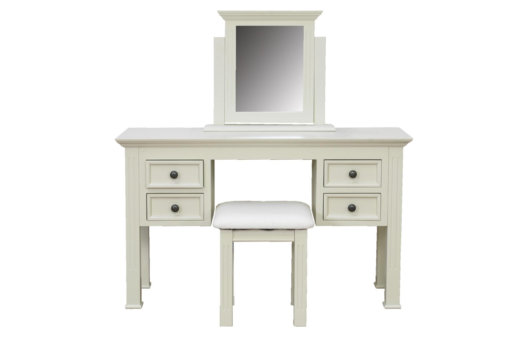 Set masa si scaun pentru machiaj cu oglinda Deauville Ivoir L125xl42x h755 cm