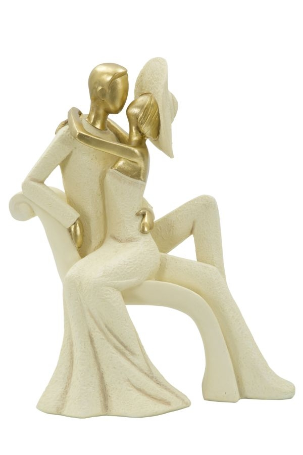 Decoratiune Couple on chaise longue Gold L25xl15xH29 cm