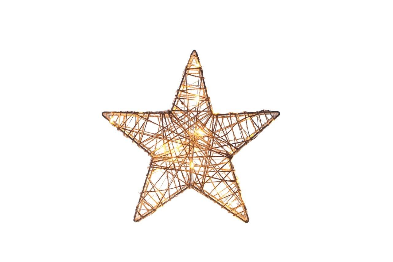 Decoratiune stea cu 40 LED-uri din metal si PVC Premium Gold l27xA5xH26 cm