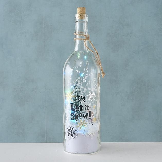 Decoratiune cu LED de Craciun Sheila Bottle Let it Snow, Ø9xH36 cm imagine
