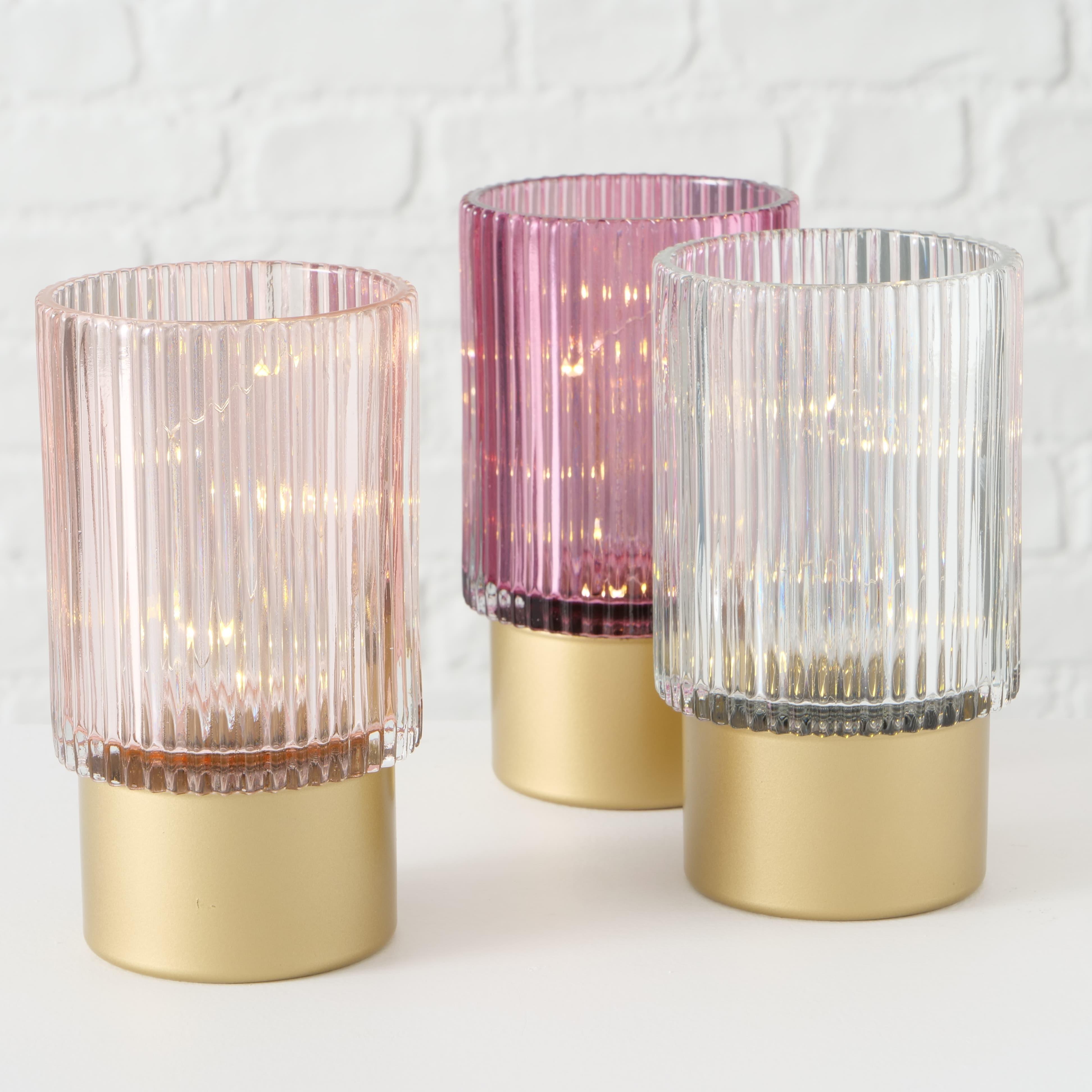 Decoratiune cu LED din sticla Apia Roz / Alb, Modele Asortate, Ø9xH15 cm