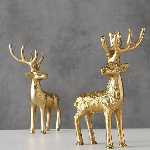Decoratiune de Craciun din aluminiu Mendel Deer Auriu, Modele Asortate, l8xA6xH15 cm