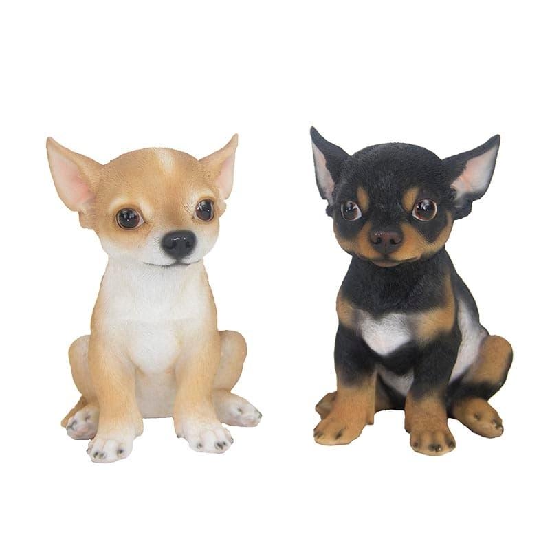 Decoratiune de gradina, din polirasina, Chihuahua Sitting Multicolor, Modele Asortate, L15,9xl11,5xH19,3 cm somproduct.ro