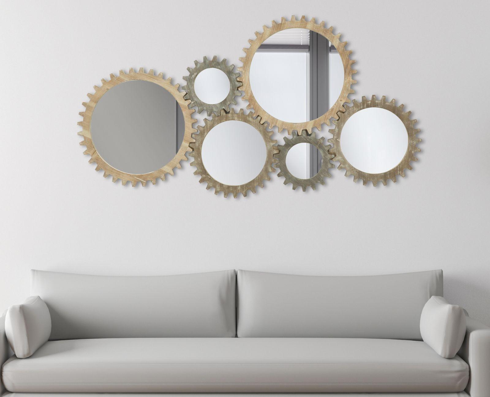 Decoratiune de perete cu oglinda, din MDF Ingranaggio Natural, l137xA3xH73,5 cm imagine