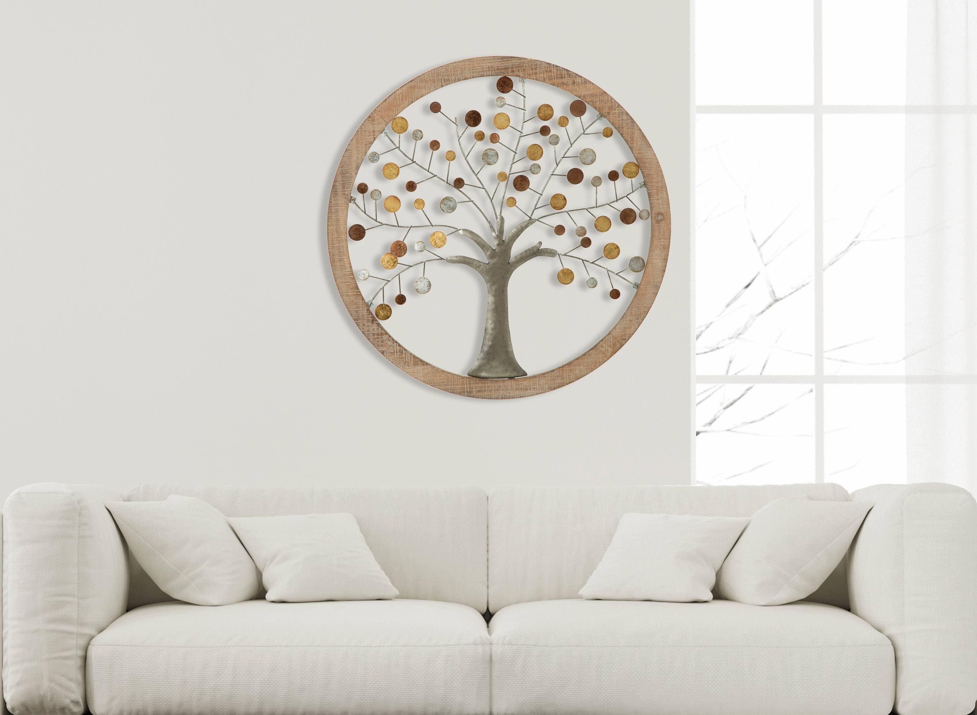Decoratiune Perete Mdf Metal Life Tree Natural