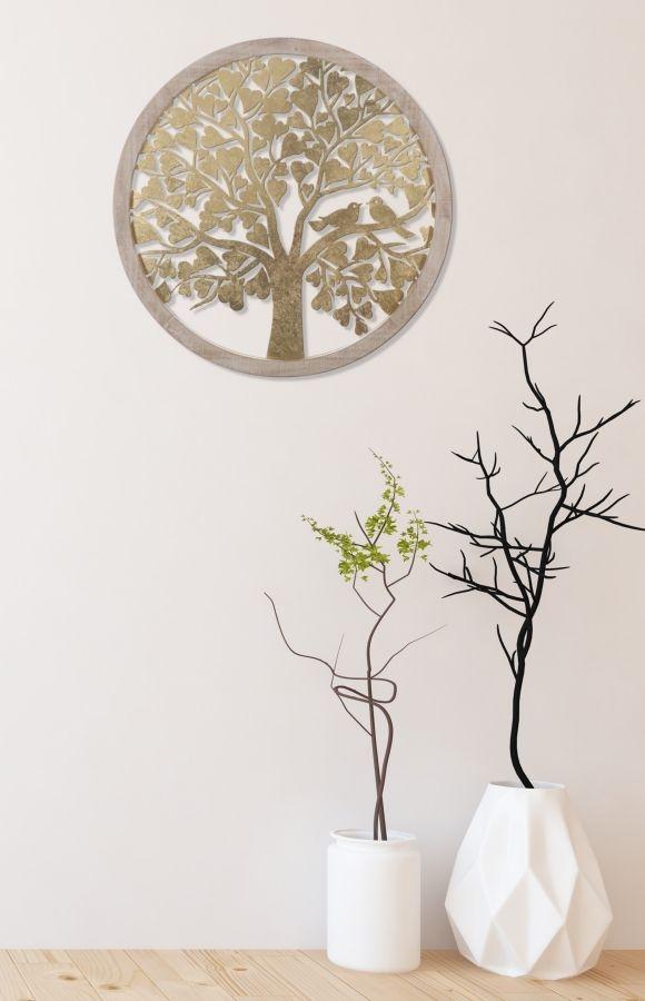 Decoratiune de perete din MDF si metal Tree Round Auriu / Natural, Ø80 cm imagine