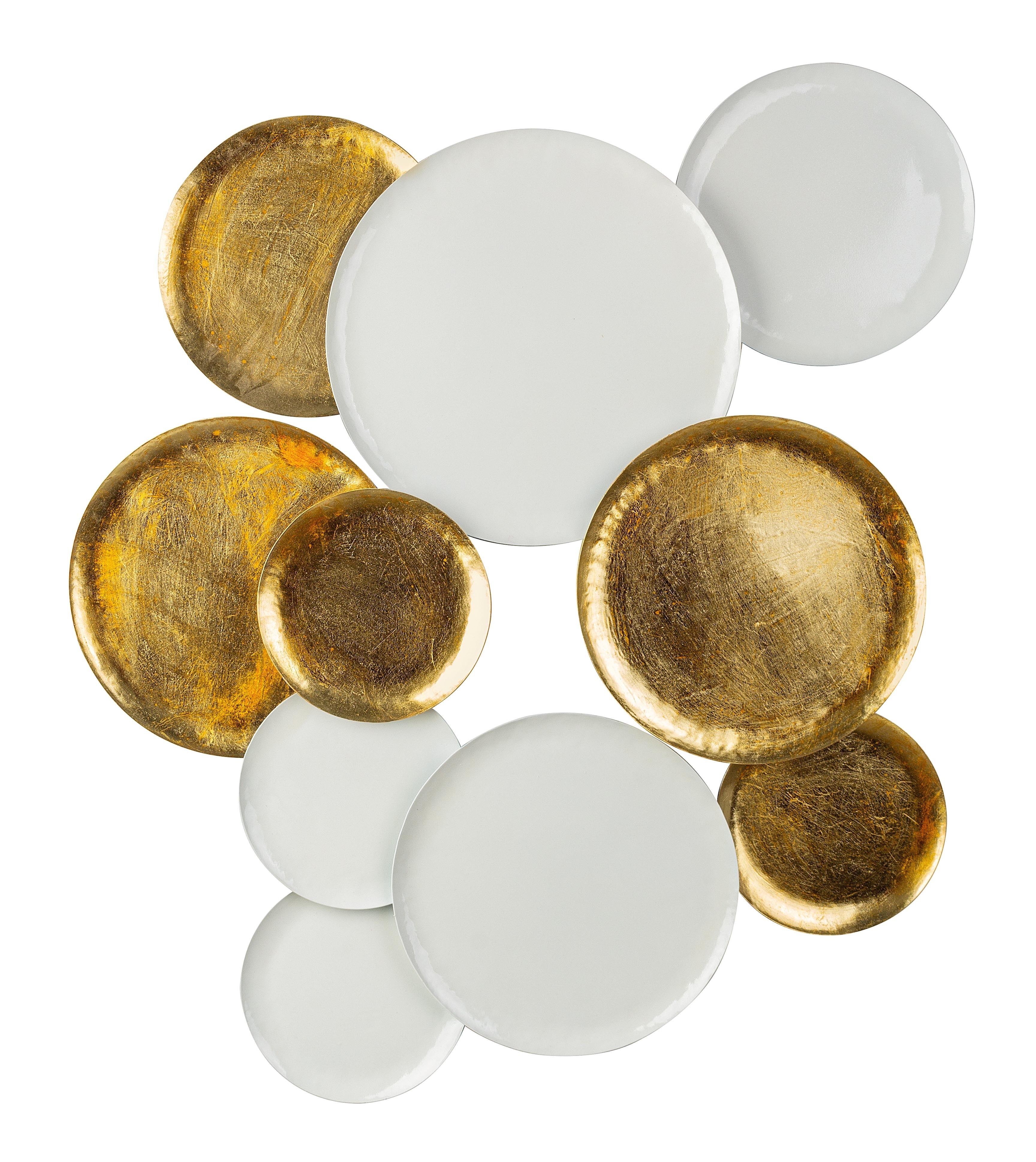 Decoratiune de perete din metal Circles Auriu / Alb, l78xA3,5xH84 cm poza