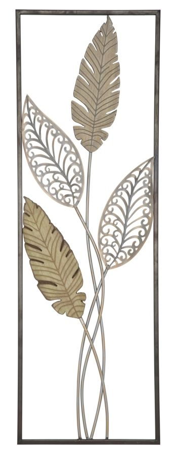 Decoratiune de perete din metal si MDF Foglie A Multicolor, l30,5xA1,9xH91 cm