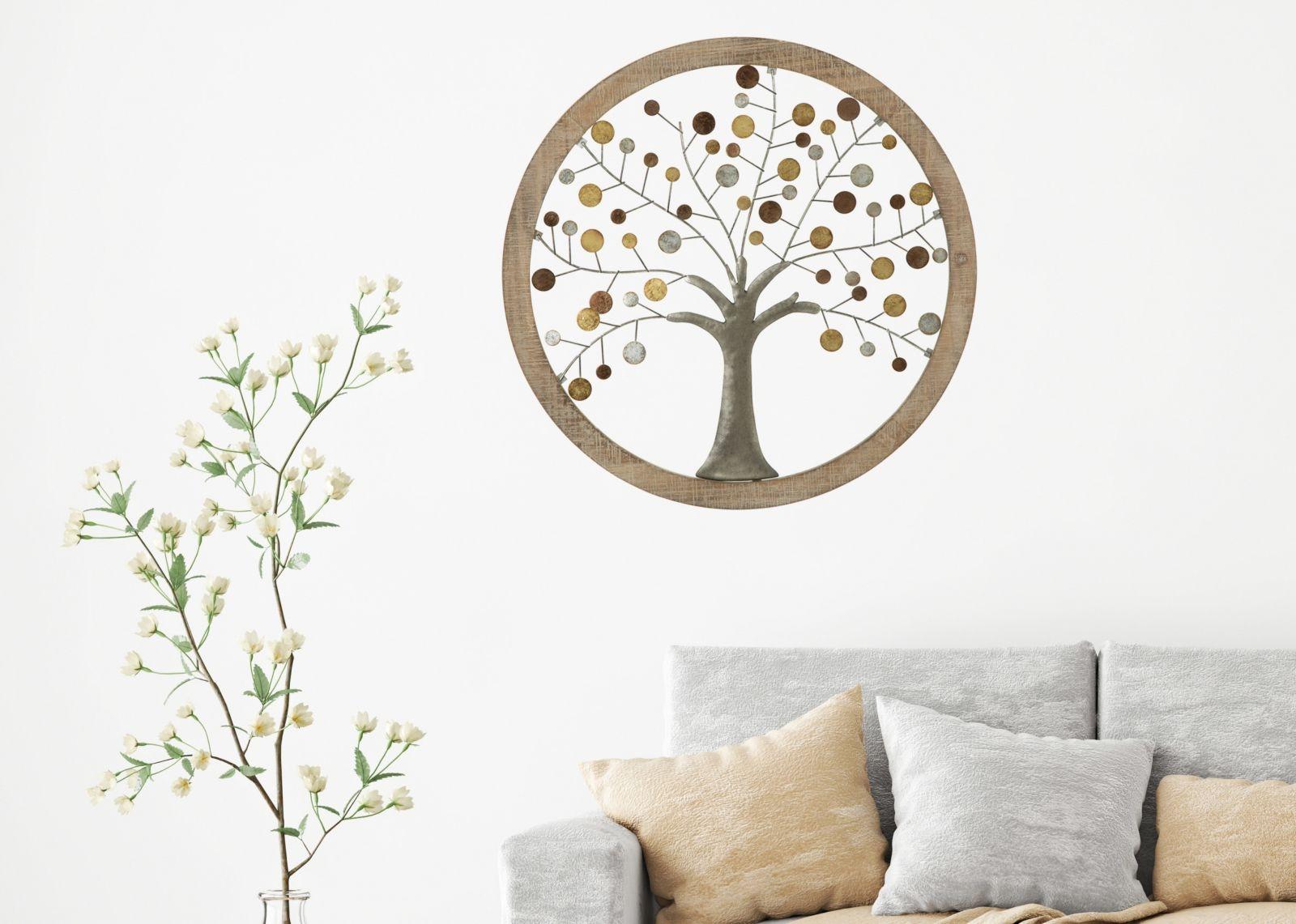 Decoratiune de perete Life Tree I Natural, Ø59 cm poza