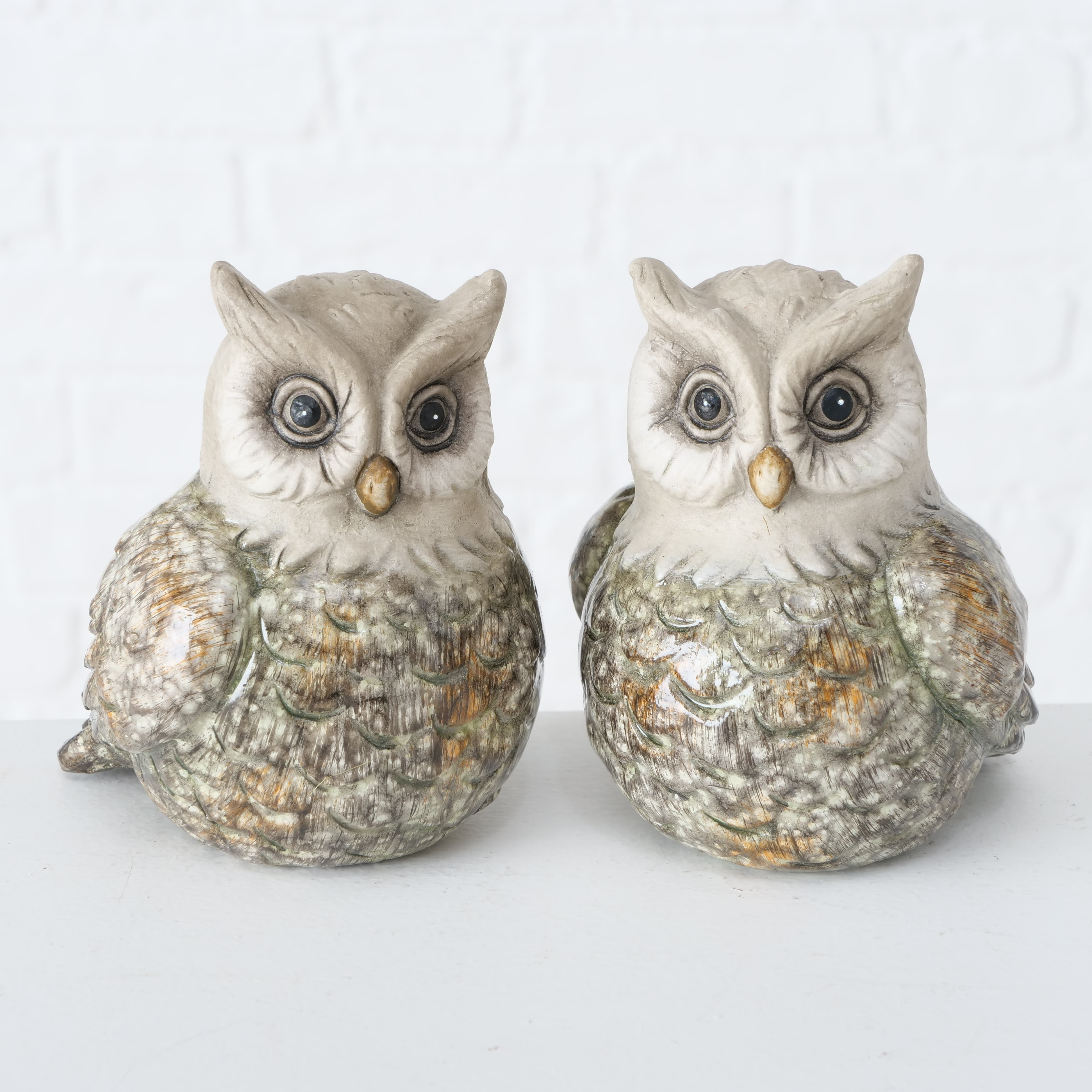 Decoratiune din ceramica Kuga Owl Multicolor, Modele Asortate, l10xA9xH11 cm