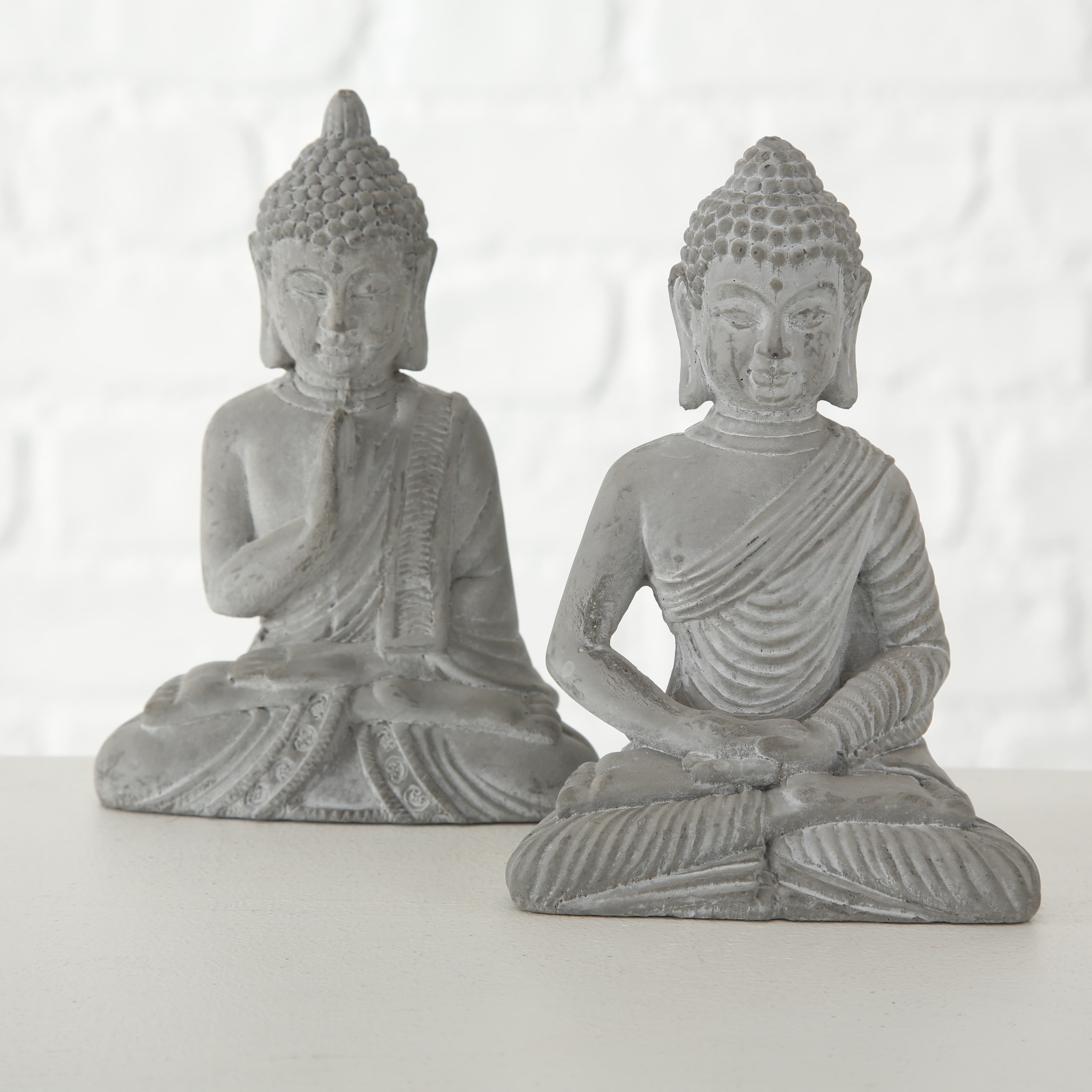 Decoratiune din ciment Buddha Gri, Modele Asortate, l6xA9xH14 cm