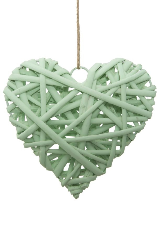 Decoratiune din lemn Heart Media Verde Mint, l20xA5xH20 cm