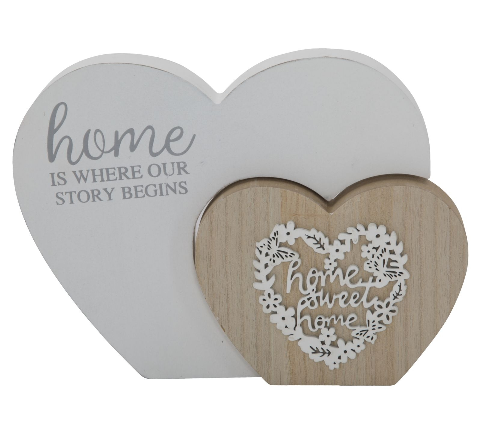 Decoratiune din lemn Laugh Love Natural, l22xA2,5xH16 cm