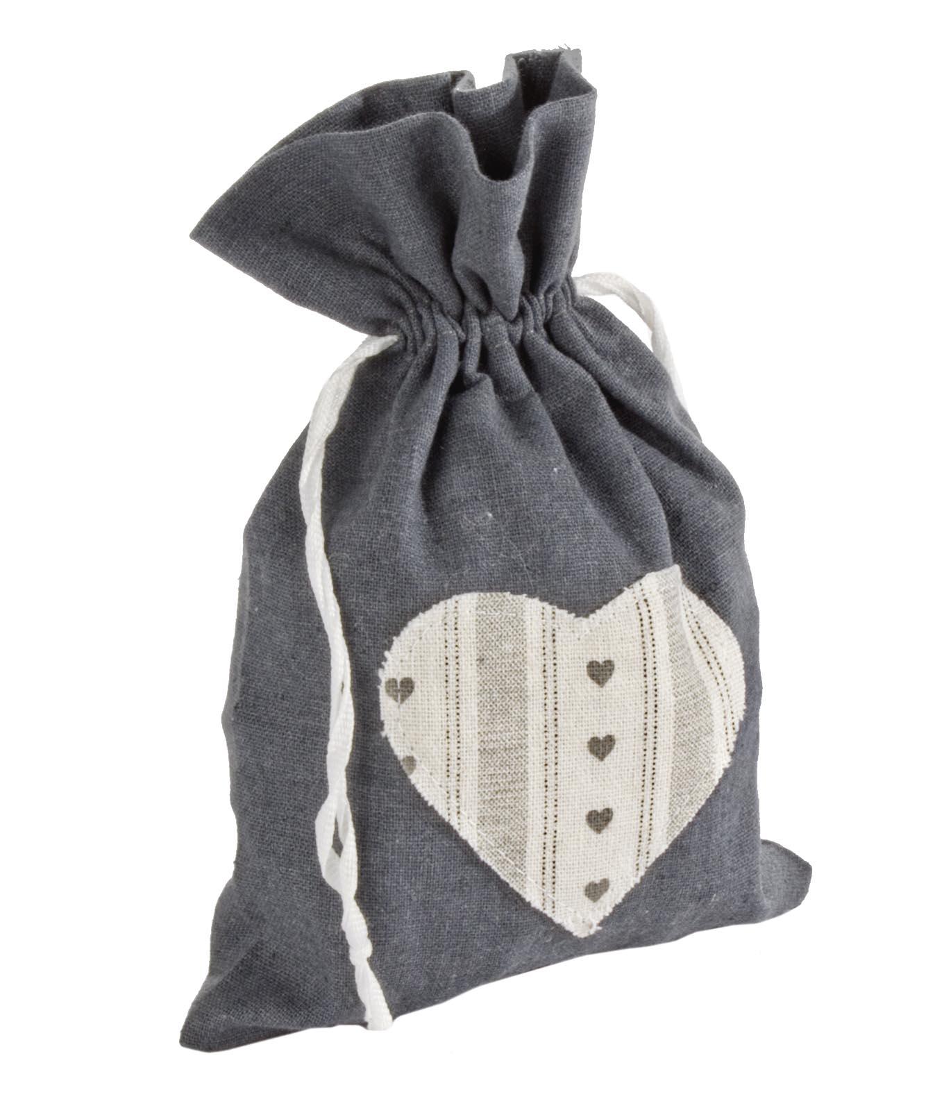 Decoratiune din material textil Heart L Gri / Alb, l22xH15 cm poza