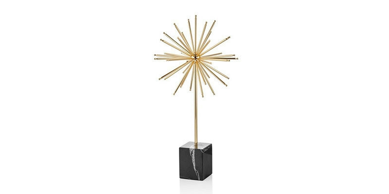 Decoratiune din metal si marmura Valentin Small Auriu / Negru, l8xA5xH25 cm